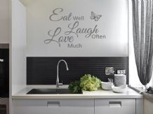 "Kitchen Wall Quote ""Eat,Laugh,Love"" Wall Art Sticker, Vinyl Decal, Transfer"